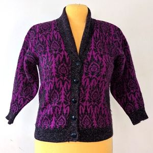 Vintage 80s Sparkly Paisley Knit Cardigan